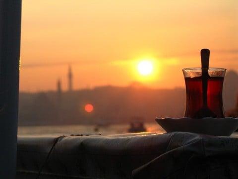 風景 ティータイム お茶 夕焼け