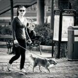 ウォーキング 女性 白黒 散歩