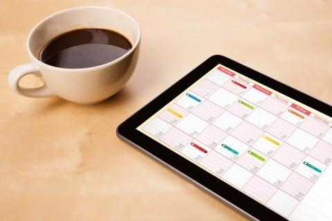 コーヒー iPad スケジュール カレンダー