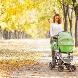 ママ ベビーカー 散歩 公園 秋 紅葉