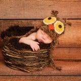 赤ちゃん 眠る 帽子 コスプレ フクロウ