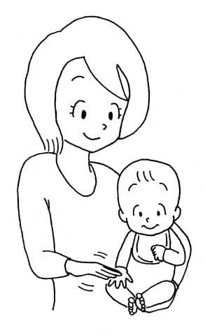 ママと赤ちゃん手すりすり