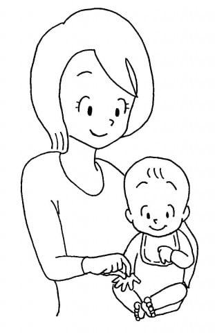 ママと赤ちゃん手つまむ