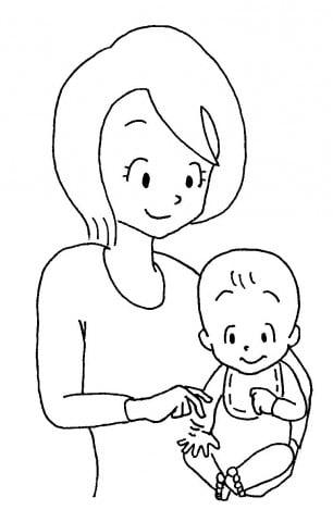 ママと赤ちゃん指で登る