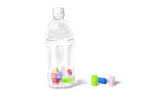 イラスト ペットボトル ビーズ落とし 知育玩具
