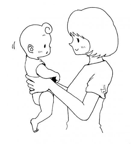 赤ちゃん 首すわり 抱っこ 縦抱き イラスト