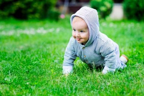 赤ちゃん 公園 芝生 ハイハイ