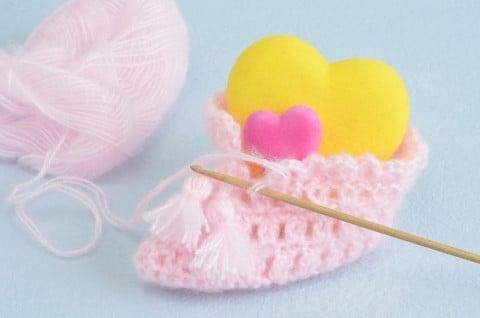 ベビーシューズ ピンク 毛糸 編み物 ハート