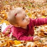 赤ちゃん 秋 子供 外 落ち葉 紅葉