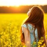 女性 花畑 希望 太陽 光