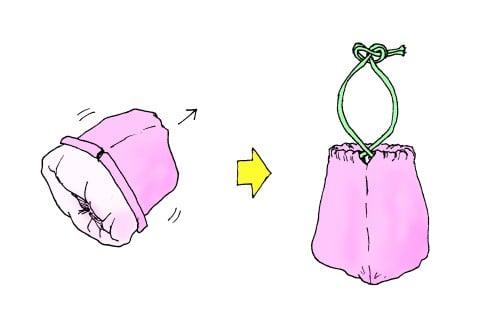 巾着型 おむつ入れ イラスト
