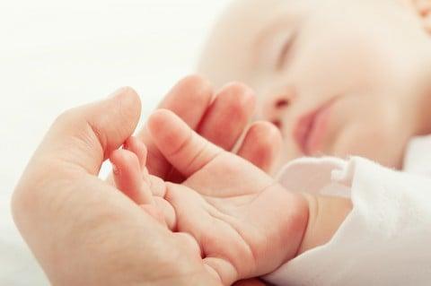 赤ちゃん 守る 手 親子