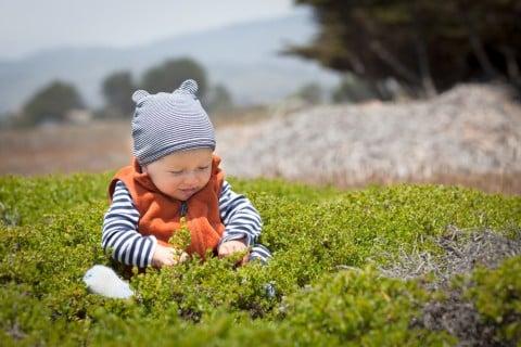 赤ちゃん 外 ベスト 男の子 ニット 帽子 ピクニック