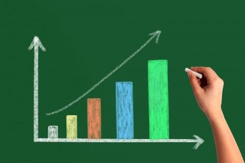 増加 グラフ 増える 黒板