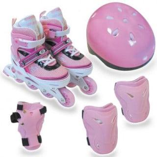 要出典 6歳 女の子 誕生日 キット リップスライド アジャスタブルインラインスケート5点セット