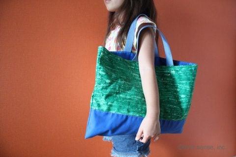 保育園 幼稚園 小学校 通園バッグ 作り方 持つイメージ 肩掛け