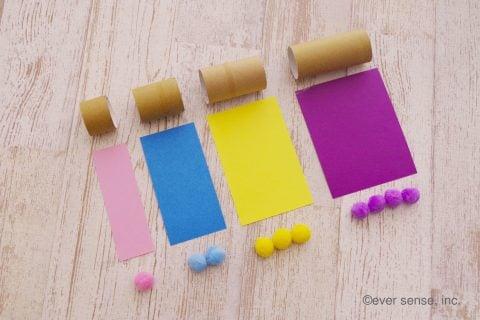 トイレットペーパーの芯 手作り おもちゃ ポンポン数遊び 材料