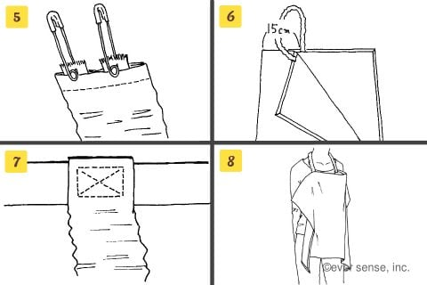 授乳ケープ 作り方 簡単 手作り オーソドックスなタイプの授乳ケープ 首ひもの作り方2