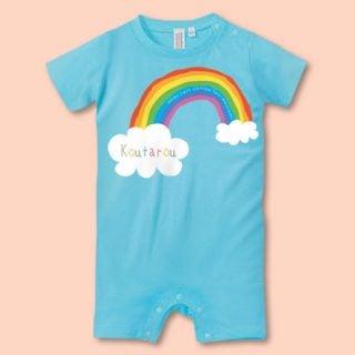 要出典 赤ちゃん ベビー肌着 七色レインボー 名入れ ベビー半袖ロンパース