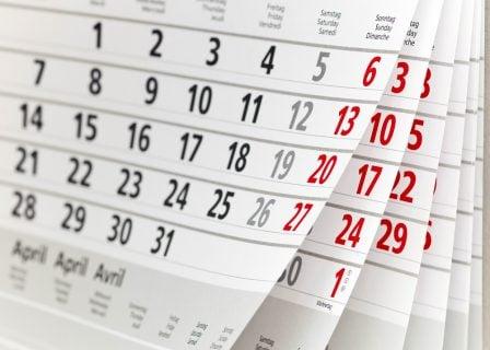 カレンダー 日付 期間