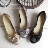 妊婦結婚式の靴 アゲハリボンバレエパンプス