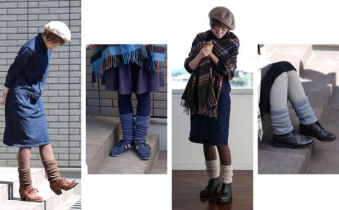 冷えとり靴下 シルクとウールの2重編み レッグウォーマー