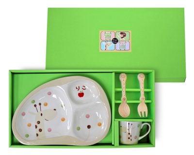 お食い初め用食器 竹堂園 のっぽのポノ(キリン) 名前入り 子ども食器ギフトセットM