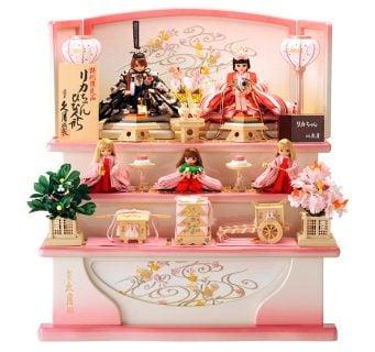 要出典 雛人形 人形屋ホンポ 久月×タカラトミー リカちゃん ひな人形 三段飾り 五人飾り