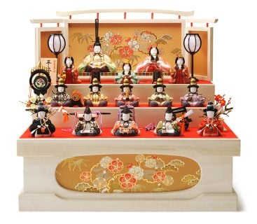 要出典 雛人形 木目込人形 木村一秀作 平安雛 三段飾り 十五人飾り 桐収納セット