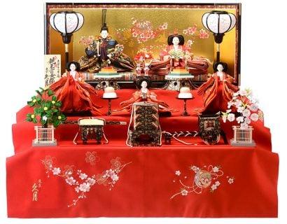 要出典 雛人形 人形屋ホンポ 三段飾り 五人飾り 桐製毛せん三段