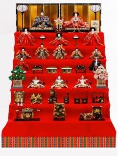 要出典 雛人形 久宝堂 正絹華椿 30号七段飾