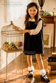 要出典 入園式卒園式ワンピース キャサリンコテージ アリス刺繍ベロア ジャンパースカート