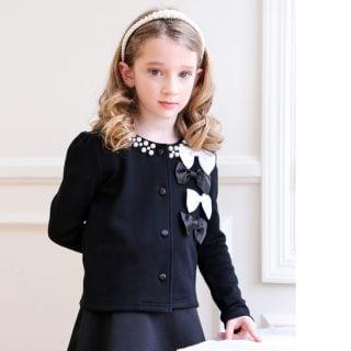 要出典 卒園式の子供服 ナイトワン パール&立体リボン カーディガン