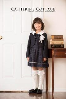 要出典 卒園式の子供服 キャサリンコテージ ドットワンピとツイードボレロ 3点セット
