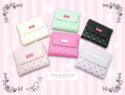 要出典 小学校入学祝 ピンクミニスター 2つ折り フェイクレザー カラーリボン財布