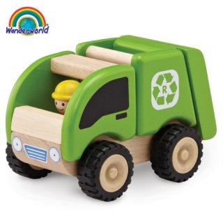 要出典 車のおもちゃ ワンダーワールド木製 ミニ・リサイクリングトラック