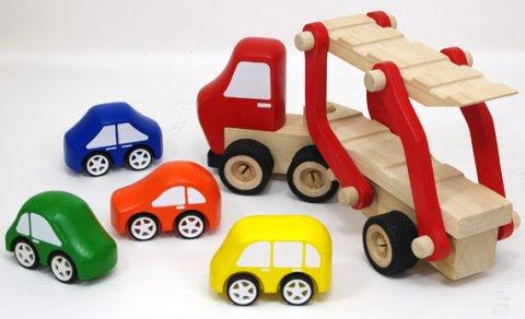 要出典 木のおもちゃ カーキャリア トラック