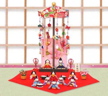要出典 ひな祭りプレゼント 京都和彩工房 ひな人形 輪飾りセット 花几帳 ちりめんわらべ雛 10人揃い