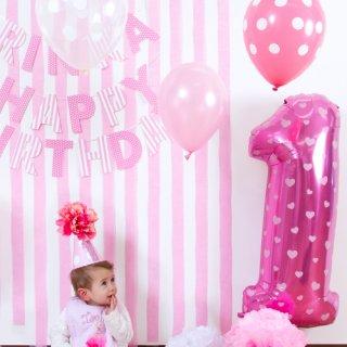 要出典 1歳誕生日女 バルーン、ファーストバースデーパーティーハット、ガーランドのセット