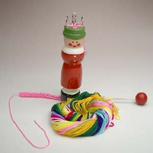 要出典 昔のおもちゃ コンラッドロファー社 スターターキット 緑帽リリアン編み+リリアン糸セット
