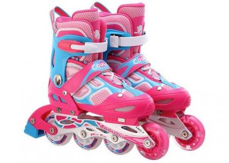 要出典 6歳女の子誕生日 ジュニア用 インライン ピンク×ブルー