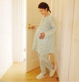 要出典 出産入院 パジャマ ミルクティー ナルエーコラボ Wガーゼしゃぼんパジャマ