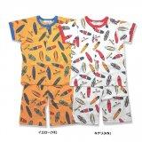 要出典 ジュニアサイズパジャマ アンパサンド サーフ総柄PT前開き半袖パジャマ ボーイズ