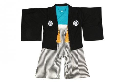 要出典 お食い初めの服装 紋付袴風 ベビー羽織付きロンパース