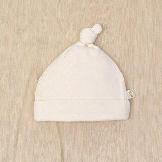 要出典 新生児帽子 オーガニックコットン ベビー アイレット柄フライス結び帽