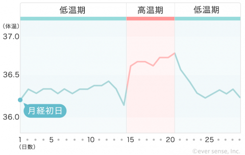 【740px】基礎体温表 ①低温期が長く高温期が短い(黄体機能不全・軽度の排卵障害)