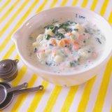 鶏ささみとマカロニのクリーム煮 中期前半 離乳食(アイキャッチ)