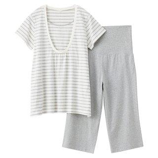 要出典 無印良品 パジャマ オーガニックコットン天竺授乳に便利パジャマ・半袖