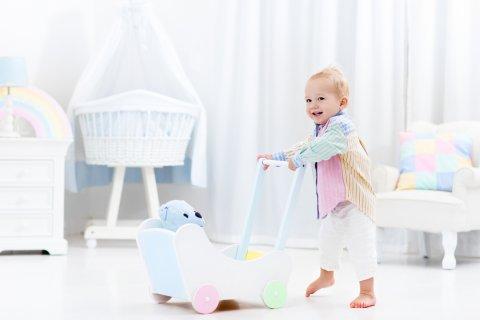 赤ちゃん 手押し車 遊ぶ 室内 ぬいぐるみ おもちゃ