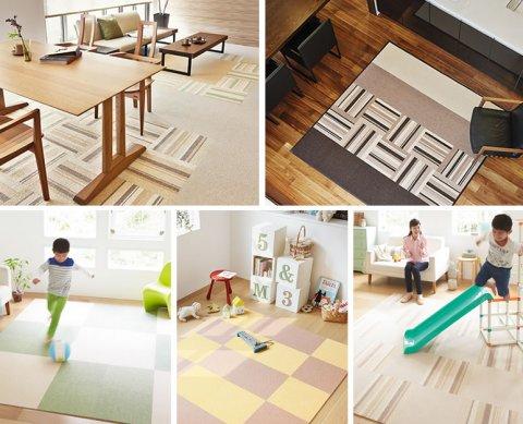要出典 子供部屋のラグ  東リ 洗えるタイルカーペット